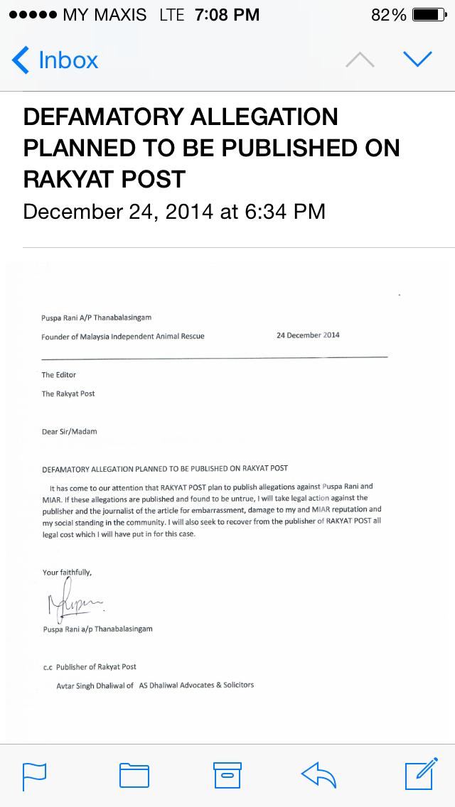 Puspa's legal letter